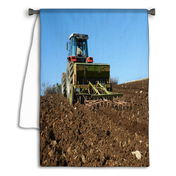 agricultural tractor sowing seeds towel