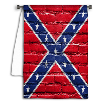 confederate flag painted on brick wall towel