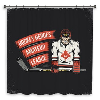 ice hockey player with stick custom size shower curtain