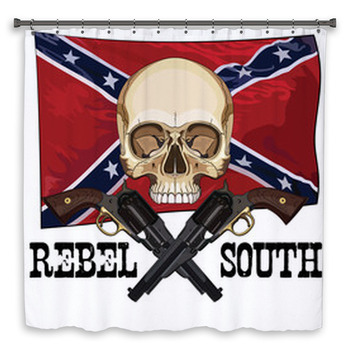 skull and two crossed gun on custom size shower curtain
