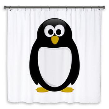 vector penguin in cartoon style shower curtain