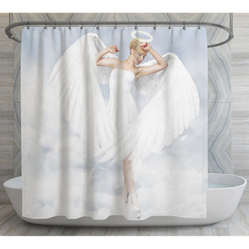 young woman as an angel shower curtain