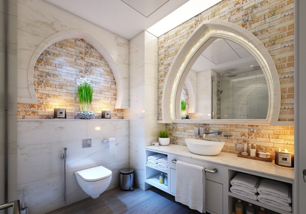wallpaer covering bathroom