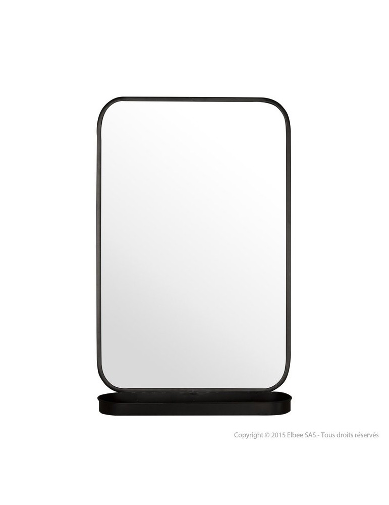 Miroir Mural Avec Etagere En Metal Noir 77 5x50 5x15cm Cermin Dmi29