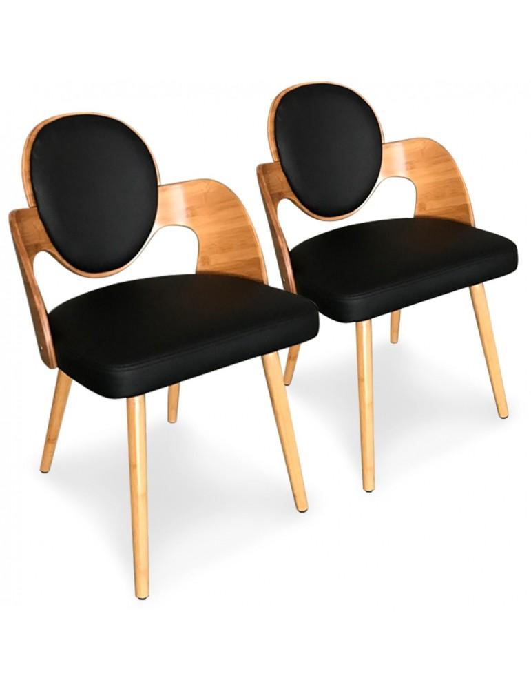 lot de 2 chaises scandinaves galway bois naturel et noir