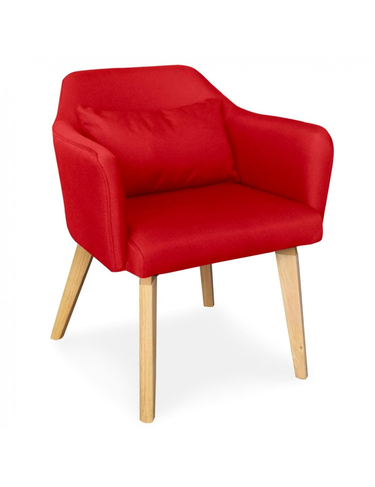 chaise fauteuil scandinave shaggy tissu rouge