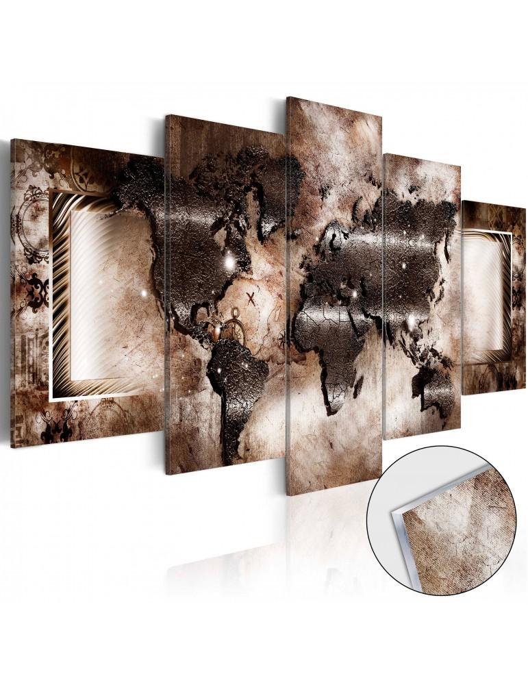 tableau sur verre acrylique platinum map glass