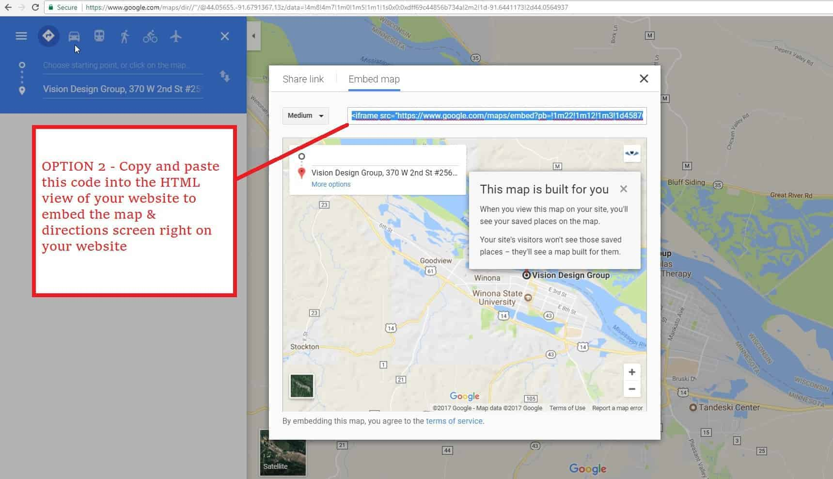 how to make a google map link