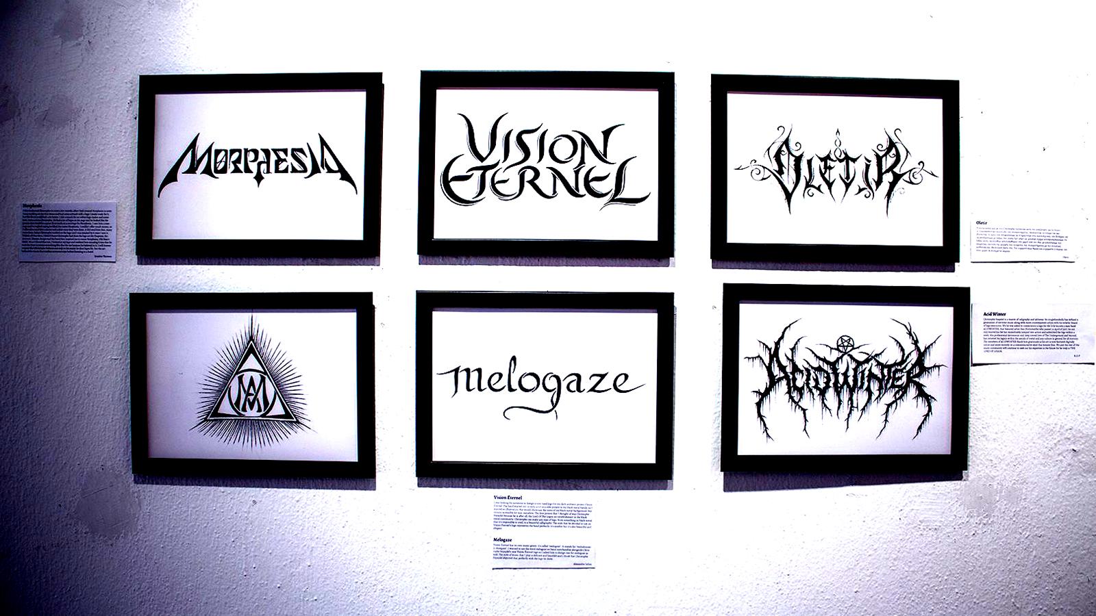 Vision Éternel Logo Displayed At Christophe Szpajdel's A Journey Into The Lost Homelands Exhibition