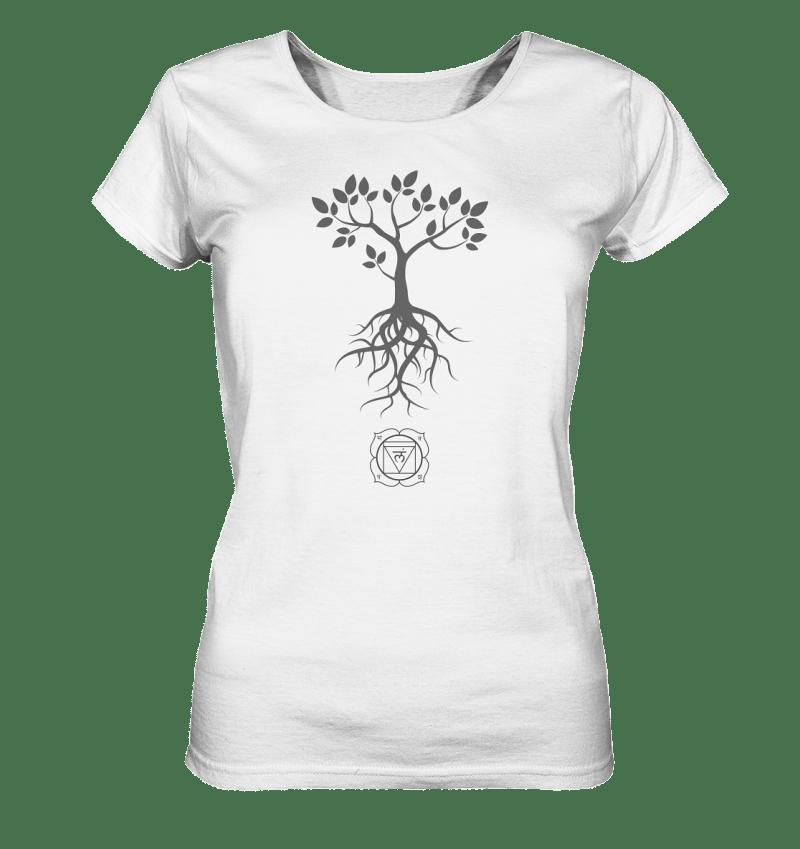 Baum Motiv und Root Chaktra Symbol auf einem Damen Top.