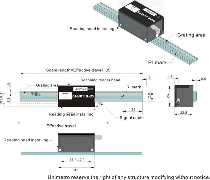 Reflecting Optical Linear Glass Scale / Encoder For Non