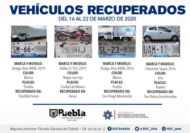 EN LA TERCERA SEMANA DE MARZO, RECUPERÓ SSC DE PUEBLA NUEVE VEHÍCULOS CON REPORTE DE ROBO