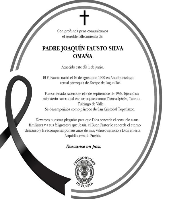 CONFIRMA LA ARQUIDIÓCESIS DE PUEBLA EL FALLECIMIENTO DE DOS SACERDOTES POR COVID19