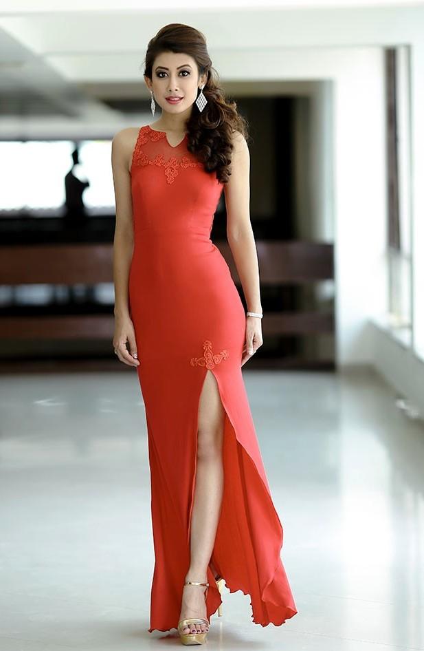 Nepali model red dressed