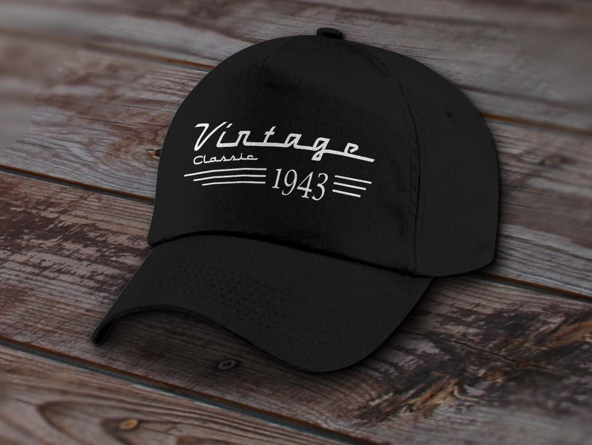 85ad38a6400 1943 Birthday Cap - Vintage Classic Car Guy Birthday Cap - Hat For ...