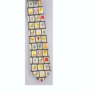This is a cool yellow tie with everyday pictures and Italian translations of the pictures. -0