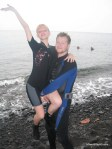 we're padi certified! Photo from learning to SCUBA dive in Bali, lifting over the water