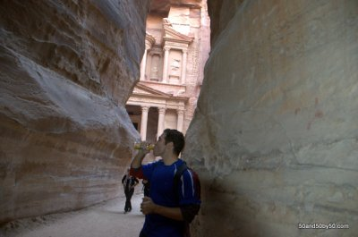 "at the Siq, in front of ""The Treasury"""