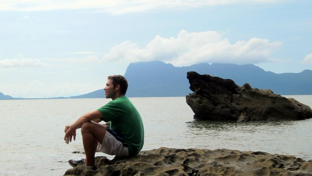 enjoying the view at Bako island in Bako National Park in Borneo