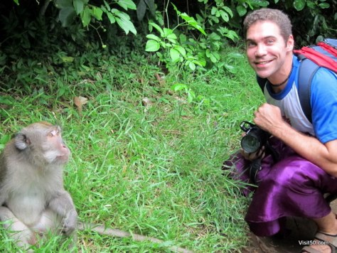 with a monkey in Bali