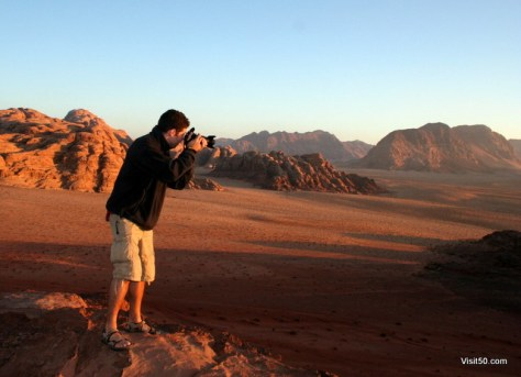 Photographing the beautiful sunset in the desert