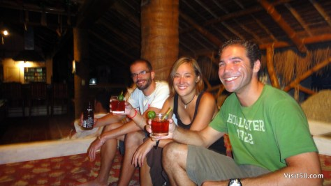 toasting and drinking our triple rum and cokes in Malapascua