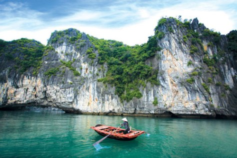boat rowing at Halong Bay Vietnam
