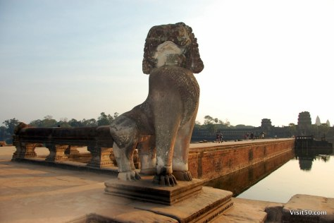 statue of animal guarding the city walls of Angkor Wat