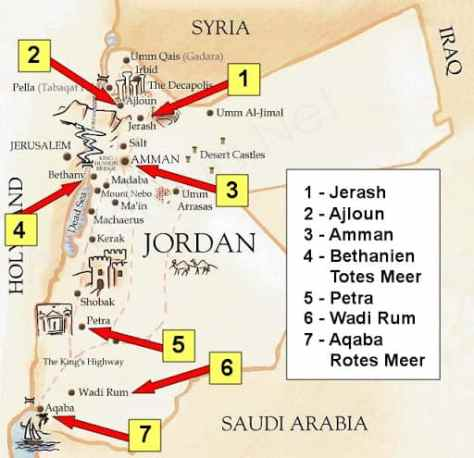 Jordan map with key sites marked