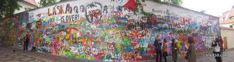 Panorama of the Lennon Wall in Prague