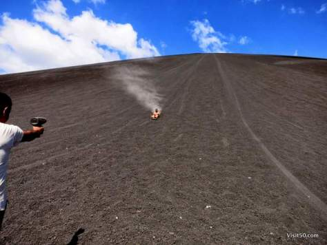 they use a speed gun to measure how fast you go volcano boarding down