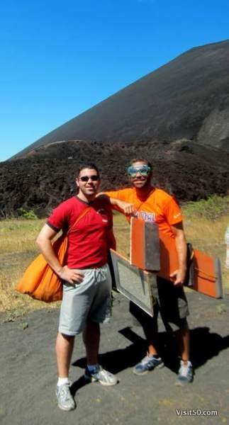 Ready to hike the volcano with our volcano boards. You can see how high tech these boards are (sarcasm...)