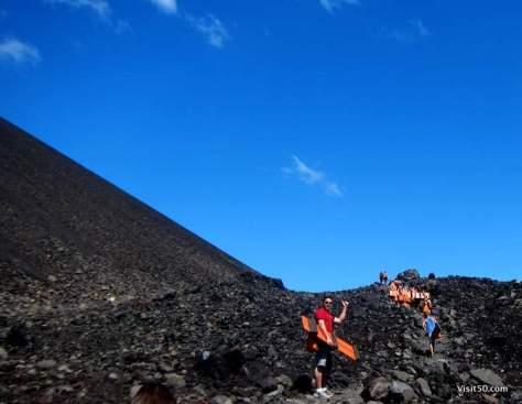 hiking the Cerro Negro volcano in Nicaragua