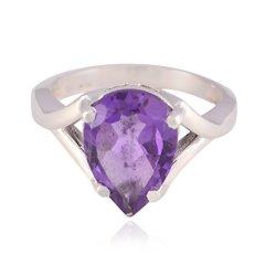 anillos de amatista afortunados de la piedra preciosa de la pera – anillo de piedra preciosa afortunado de la amatista de plata sólida – arte y coleccionables tiendas más vendidas regalo para -SP