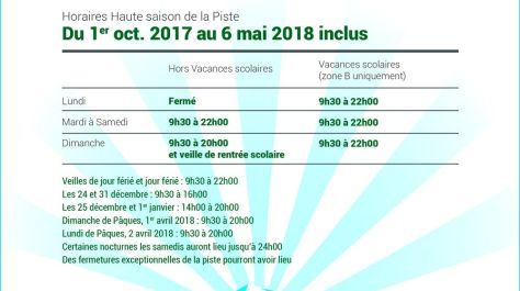 Snowhall, Horaires Haute Saison 2017/2018