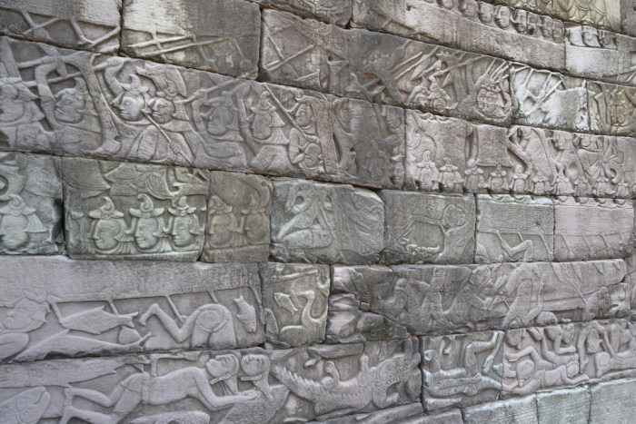 Bas relief of Khmer - Cham naval battle