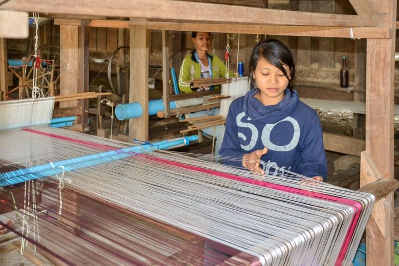 Handcrafting beautiful silk scarves