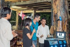 Singing karaoke together