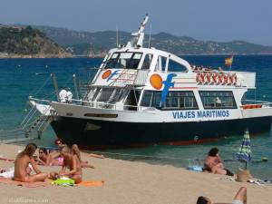 Ferry boat at S'Abanell beach, Blanes