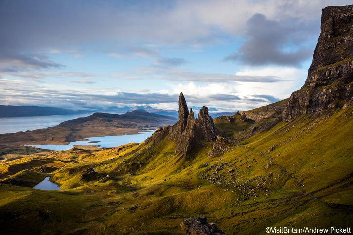 Basalt pinnacles called The Old Man Of Storr on the Trotternish Peninsula overlooking the Sound of Raasay, Isle of Skye, Scotland, UK.