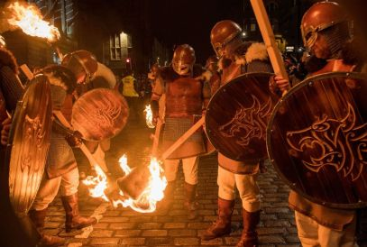 Vikings at Edinburgh's Hogmanay Torchlight Procession. Photo by Ian Georgeson