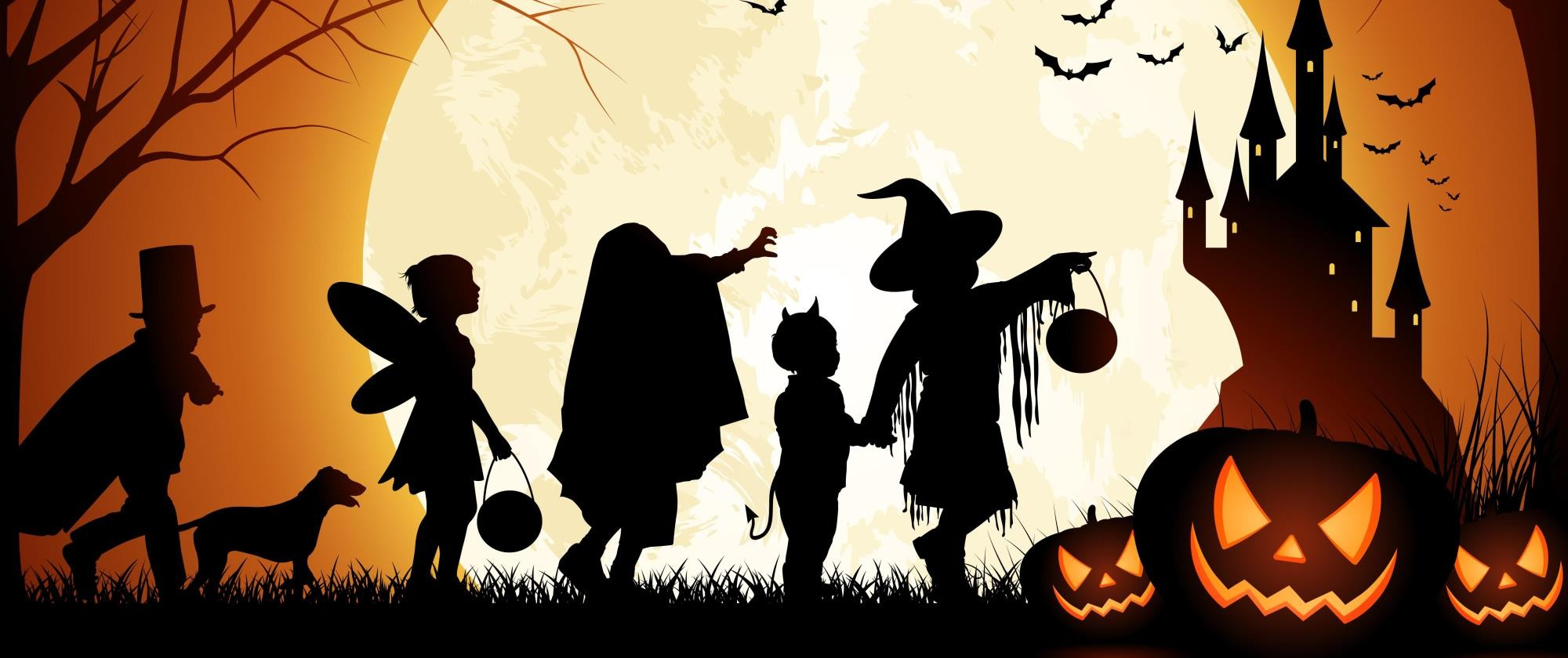 Image result for trick or treating silhouette