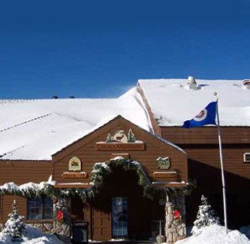 Caribou Highlands Lodge entrance in winter