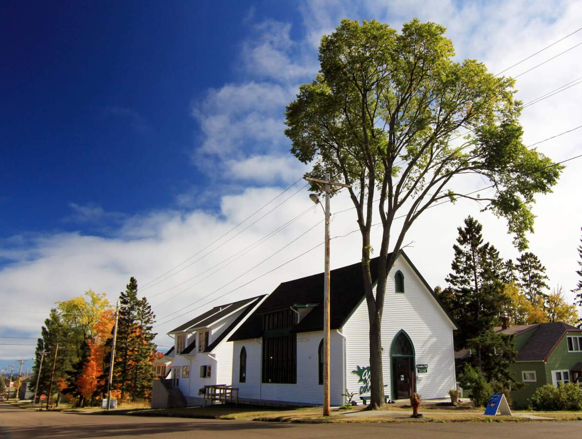 Grand Marais Art Colony buildings in fall