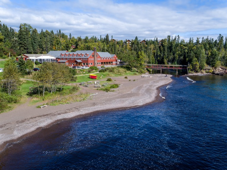 Lutsen Resort on Lake Superior summer aerial view