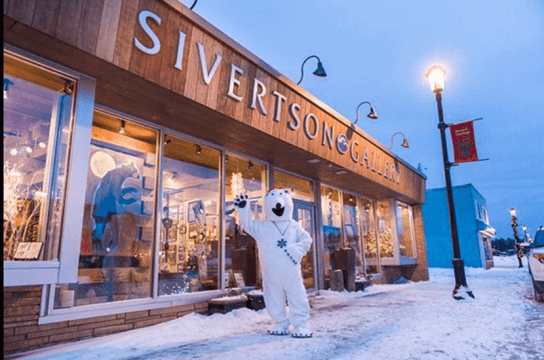 Siverston Gallery store front with polar bear waving