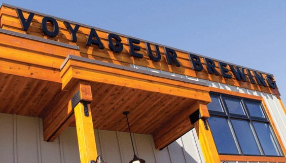 Voyageur Brewing Company building sign