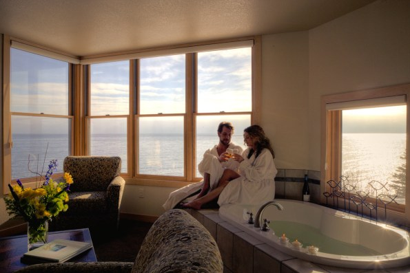Surfside on Lake Superior interior room romantic couple