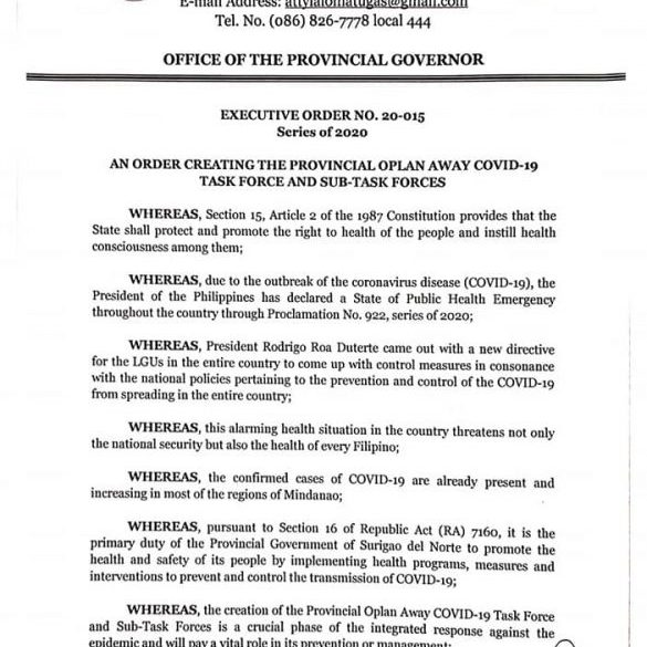April 22 Dxks News Governor Matugas Issued Executive Order 20 015 585x800 1