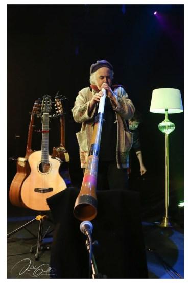 Steve Cooney playing the didgeridoo.